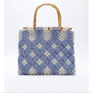 Zara macrame shopper with Handals